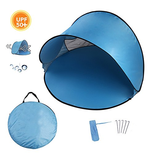 Homboon Automatic Beach Tent, Pop-up Instant Sun Shelter Portable Cabana with Carry Bag Outdoor Anti-Uv Canopy Lightweight Foldable Shade Tent for Camping Fishing Hiking Picnic,59×59×35.4″