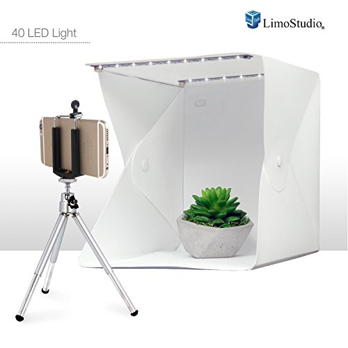 LimoStudio Cube Foldable Table Top 40 LED Light Box with Mini Tripod and Cellphone Holder, Photo Shooting Tent for Small Item Commercial Product Shooting, AGG2622V2 by LimoStudio