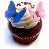 """24 Pink Purple Edible Wafer Paper Butterflies © Mini Very Small 1"""" Cake Cupcake Toppers Decoration"""