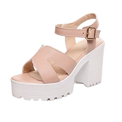 Solid Heels Open VogueZone009 Toe Women Pink Sandals Pu High CCALP013353 Buckle qWHW0cgSU