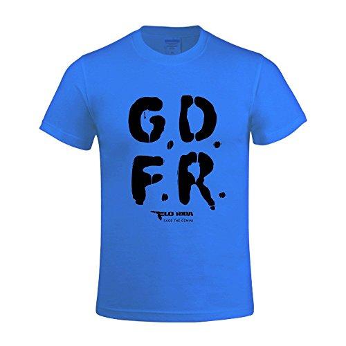 Overbearing Flo Rida Gdfr DIY gentleman Round Neck Tee Shirt Blue