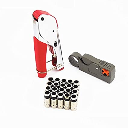 Lysignal F-Type Compression Tool Kit RG59 RG6 Coaxial Cable Cutter Coax Wire Crimper with
