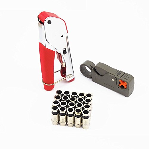 Lysignal F-Type Compression Tool Kit RG59 RG6 Coaxial Cable Cutter Coax Wire Crimper with 20pcs F Connectors Broadband Catv Coax Cable