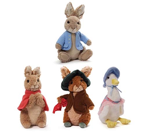 GUND Classic Mini Beatrix Potter Plush Collection: Peter Rabbit, Flopsy Bunny, Benjamin Bunny and Jemima Puddle-Duck (5