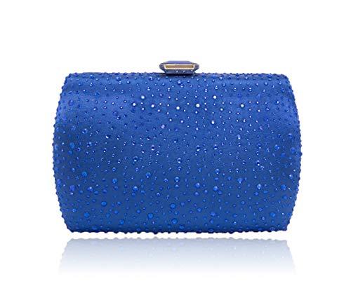(Sparkling Evening Clutch Purse Vandysi Elegant Glitter Bag Crystal Rhinestone Handbag for Dance Wedding Party Prom Bride Blue)