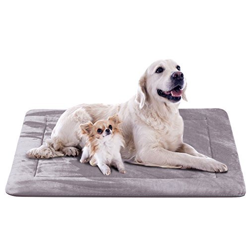 (Extra Large Dog Bed Crate Pad 47 In Washable Soft Pet Beds Dog Mat Mattress Anti-Slip Kennel Pads,Grey XL )