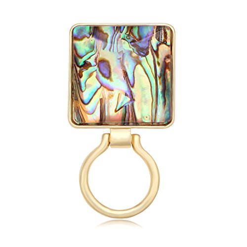 MANZHEN Geometric Square Transparent Abalone Shell Magnetic Eyeglass Holder Brooch Pin Jewelry (Gold)