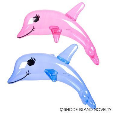 INFLATABLE DOLPHINS (FOUR) 2 BLUE 2 PINK/36'' INFLATE BEACH Party Favor Flipper Decor Pool Fun Birthday Gift/Giveaway TOY by RN
