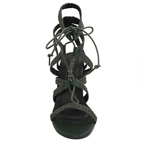 Allegra K Damen Klobiger Absatz Geflochten Riemchen zum Schnüren Sandalen - Damen, Grün, 40