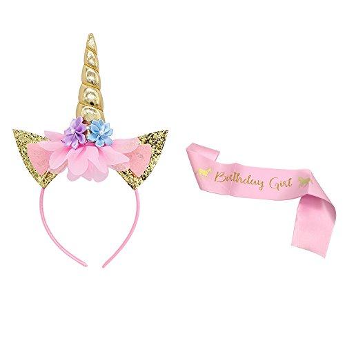 4' Satin Sash - Unicorn Headband and Birthday Girl Sash Set, Gold Glitter Unicorn Headband and Pink Satin Sash for Children Grils Unicorn Birthday Party Supplies