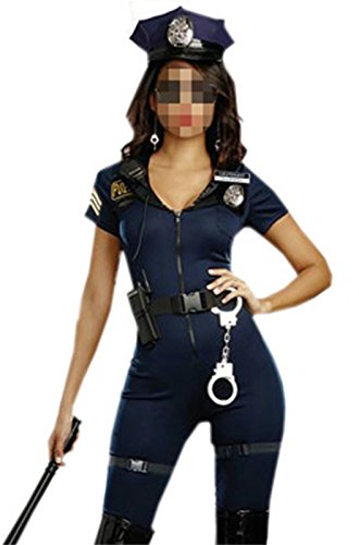 [Betusline Women's Sexy Officer Police Costume Jumpsuit Halloween Cosplay] (Police Officer Onesie Costumes)