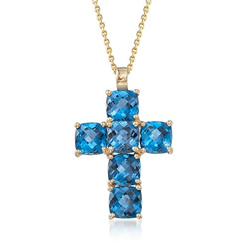 Ross-Simons 7.25 ct. t.w. London Blue Topaz Cross Pendant Necklace in 14kt Yellow Gold