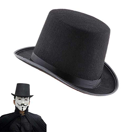 Felt Hat Magic Magician Caps Hats Halloween Party Costume Props Supplies Fashion Traditional Black]()