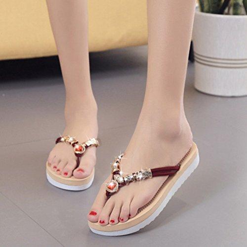 Sentao Mujeres Verano Flip Flops Zapatos Bohemia Playa Sandalias Zapatillas con cuentas Vino Rojo