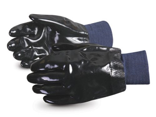 Superior NE200K Heavy-Duty Chemstop Neoprene Coated Glove with Knit Wrist Cuff, Work, Chemical Resistant, Black (Pack of 1 Dozen) by Superior Glove Works (Image #1)