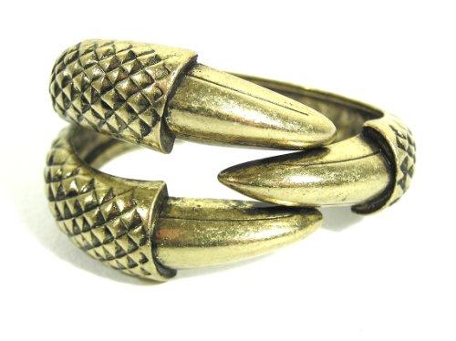 Magic Metal Claw Cuff Hinged Dragon Eagle Talon Bangle BA08 Gold Tone Vintage Bracelet Fashion Jewelry ()
