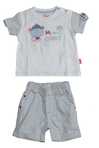 Pompelo baby boys clothing set T shirt with shorts set monkey (12 month)