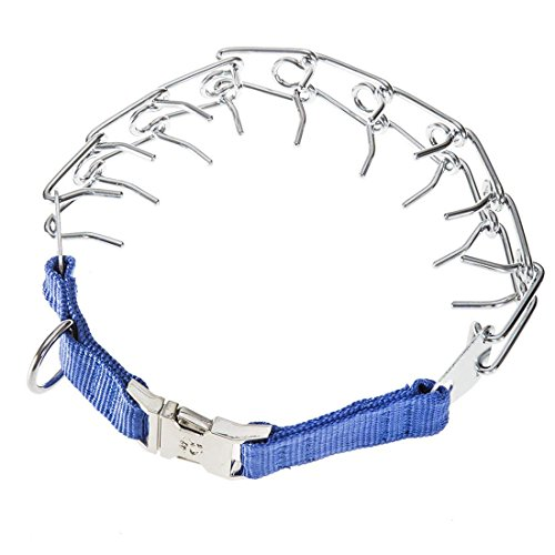 GAITY PET Dog Prong Collar Training Metal Gear Pinch Collar for Dogs, Stainless Steel with Silver Plating, Easy-On Plated Adjustable Training Dog Collar for Medium Large Dogs, Blue by GAITY PET