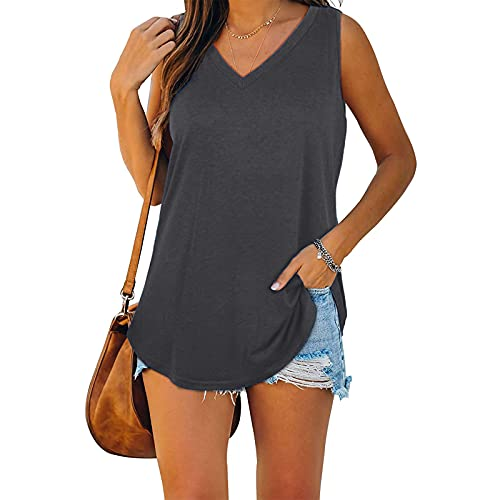 Womens Tops V Neck Solid Color/Floral Casual Flowy Summer Comfy T-Shirts Sleeveless/Short Sleeve/Long Sleeve