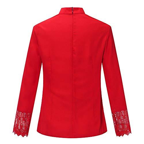 Mousseline Size De Rouge Soie VTements AmRicain Splice Haute Dentelle Longues pour SOMESUN Shirt Manches Rouge Crop en Femmes Tops Noir Casual Plus Bleu Blanc Blouse EuropEn TSYBUH
