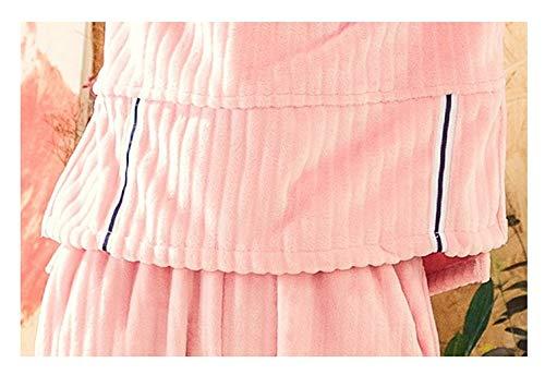 Otoño Cálida Bedgown Ronda Pink Pijamas Casero Leeqn Mujer Cuello Invierno Linda Franela Servicio Traje RdRaqw