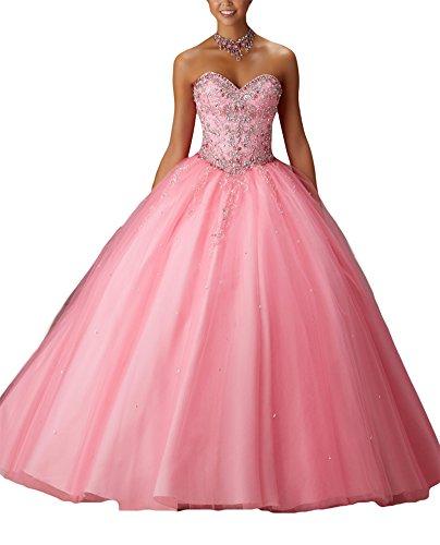 Bridal_Mall - Robe - Boule - Sans Manche - Femme Rose Rose Taille Unique -  Rose - 36