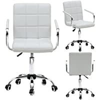 FCH Modern Mid-back PU Leather Chairs Home Office Desk Chairs with Armrests (White)