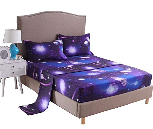 A Nice Night Galaxy 3D Printing Bed Sheet Bedding Set, 100% Soft Microfiber Fitted Sheet (Queen, 07) (Celebrity Bed Sheets)
