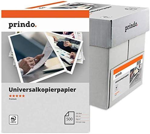 5X 500 Blatt (1Karton) A4 21,0x29,7cm weiß 80g/m² CIE 161, 107µm, 5x500 Blatt Prindo Premium Papier (PR802500A4P)