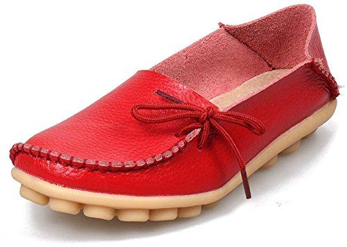 Labato Stil Labatostyle Kvinners Lær Uformelle Loafers Kjøring Moccasin Leiligheter Slip-on Tøffelen Sko Røde