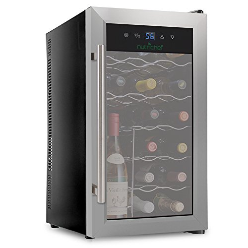 NutriChef 18 Bottle Thermoelectric Red And White Wine Cooler/Chiller Counter Top Wine Cellar with Digital Control, Freestanding Refrigerator Smoked Glass Door Quiet Operation Fridge, Stainless (Beer Wine Refrigerators)