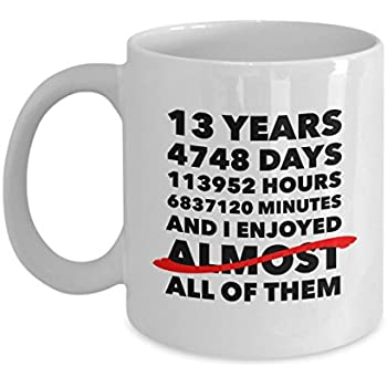 Amazon.com: Funny 13th anniversary mug, lace wedding day ...