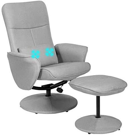 Giantex Swivel Recliner Chair and Ottoman Set w Massage Lumbar Cushion, Adjustable Backrest, Fabric Lounge Armchair with Wrapped Base, Modern Gaming Recliners with Footrest Stool
