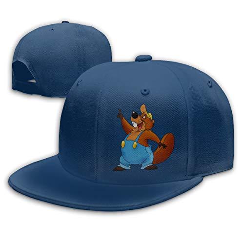 Buecoutes Cartoon Beaver Flat Visor Baseball Cap, Fashion Snapback Hat Navy -