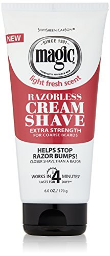 - Razorless Shaving Cream for Men by SoftSheen-Carson Magic, Hair Removal Cream, Extra Strength for Coarse Beards, No Razor Needed, Depilatory cream works in 4 Minutes for Coarse Curly Hair, 6 oz