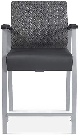 Compass Stool or Hip Chair with Arms Williamsburg Seat//Silver Back//Steel Frame