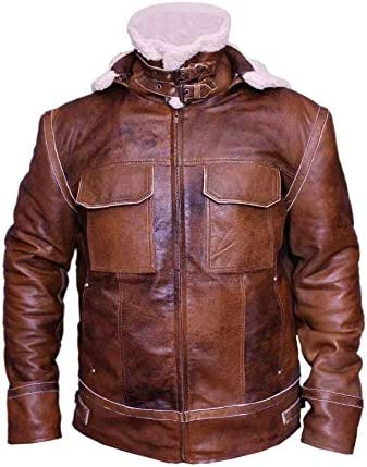 Vintage Leathers Mens Shearling Distressed Brown with Hoodie for Mens Faux//Artificial Fur Coat