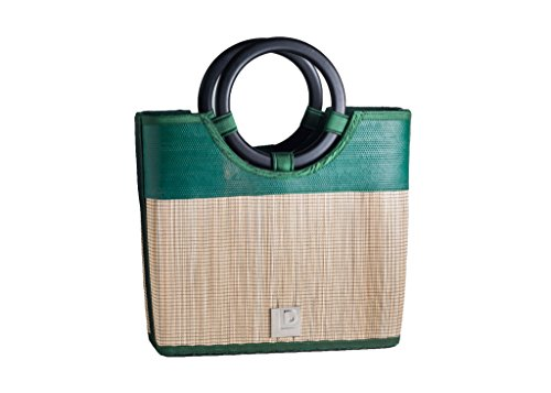 Landfill Dzine Recycled Hand Made Upcycled Layflat & Bamboo Handbag Green
