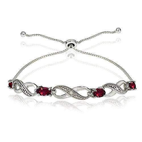 (GemStar USA Sterling Silver Created Ruby Figure 8 Infinity Adjustable Bolo)