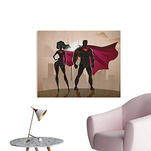 Anzhutwelve Superhero Poster Wall Decor Super Woman and Man Heroes in City Solving Crime Hot Couple in Costume Art Poster Beige Brown Magenta W32 xL24 ()