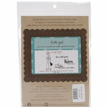Angie Blom Cling Rubber Stamps 5.5X7.25-Kelli Girl - She Found Her Inner Foodie