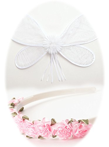 Little Adventures White Fairy Wing and Headband Set for Girls - One Size -