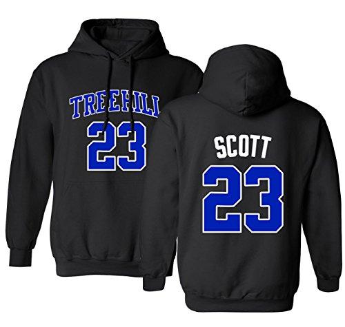 KINGS SPORTS Ravens Basketball Movie #23 Nathan Scott One Tree Hill Jersey Style Men's Hoodie Sweatshirt (Black,L) (Tree Hill Ravens Jersey)