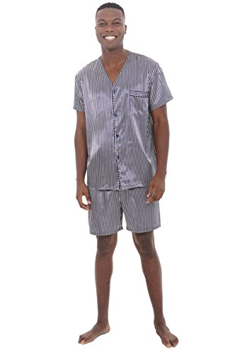 Alexander Del Rossa Mens Satin Pajamas, Short V-Neck Pj Set, Large Blue and White Striped (A0613R06LG)