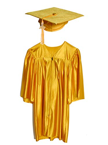 Medium Gold Shiny Preschool and Kindergarten Graduation Cap and Gown, Tassel and 2019 Charm