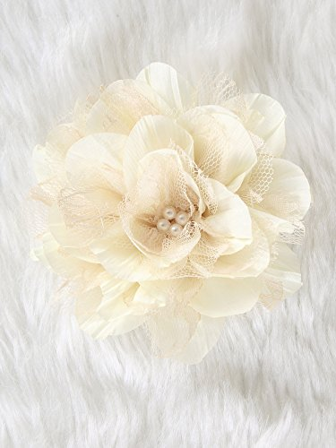 Lolita lace Flower Hair Clip and Brooch pin with pearl (Ivory)