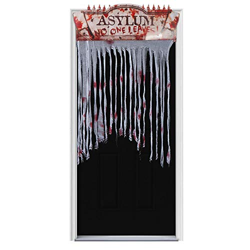 Omgouue Halloween Chop Shop Bloody Doorway Curtain No one Leave Decoration and Fabric -