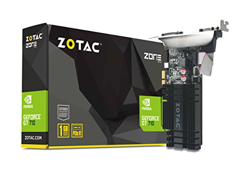 ZOTAC GeForce GT 710 1GB DDR3 PCIE x 1, DVI, HDMI, VGA, Low Profile Graphic Card (ZT-71304-20L)