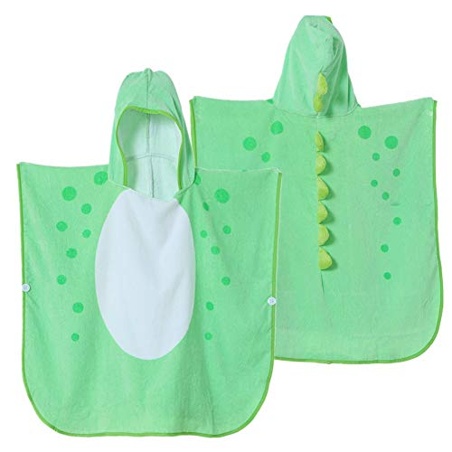 Green Dinosaur Poncho Hooded Towel for Kids, Toddler Swim Beach Towels with Hood, for Swimming Pool Shower Bath Coverup, Extra Large for 1-6 Yrs Old Boys & Girls
