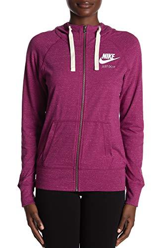 Nike Womens Gym Vintage Full Zip Hoodie (True Berry, Small)